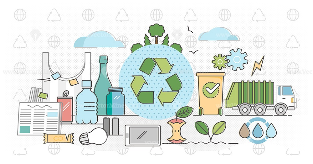 Global sustainable development collection (14 vector illustrations)