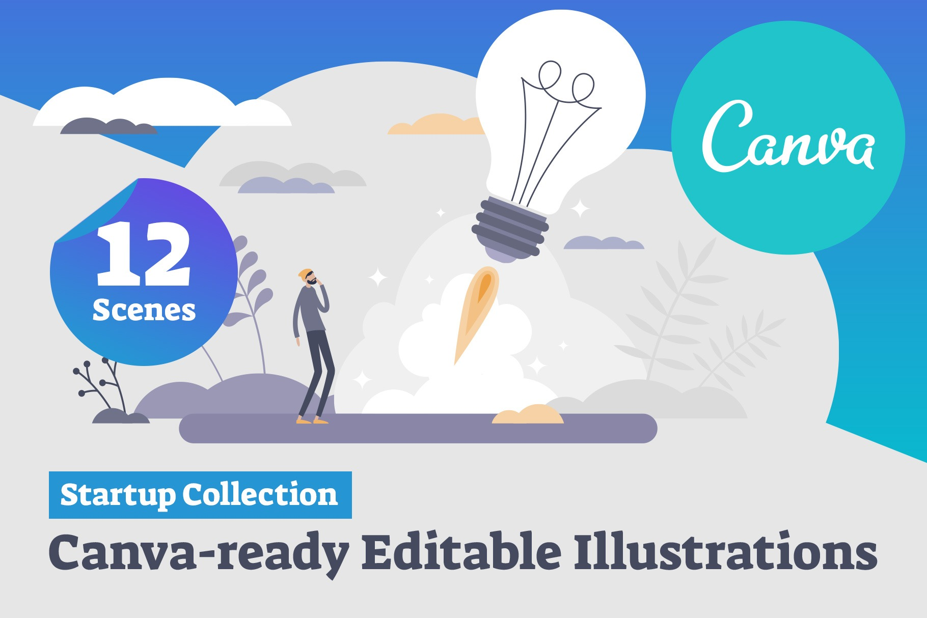 Canva-ready Startup Collection (12 Vector Illustrations)