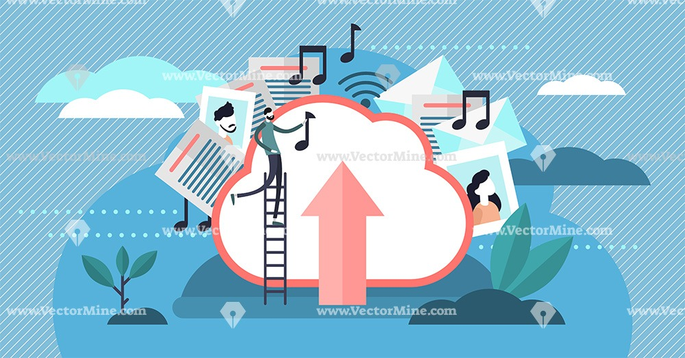 Online cloud file storage flat tiny person vector illustration