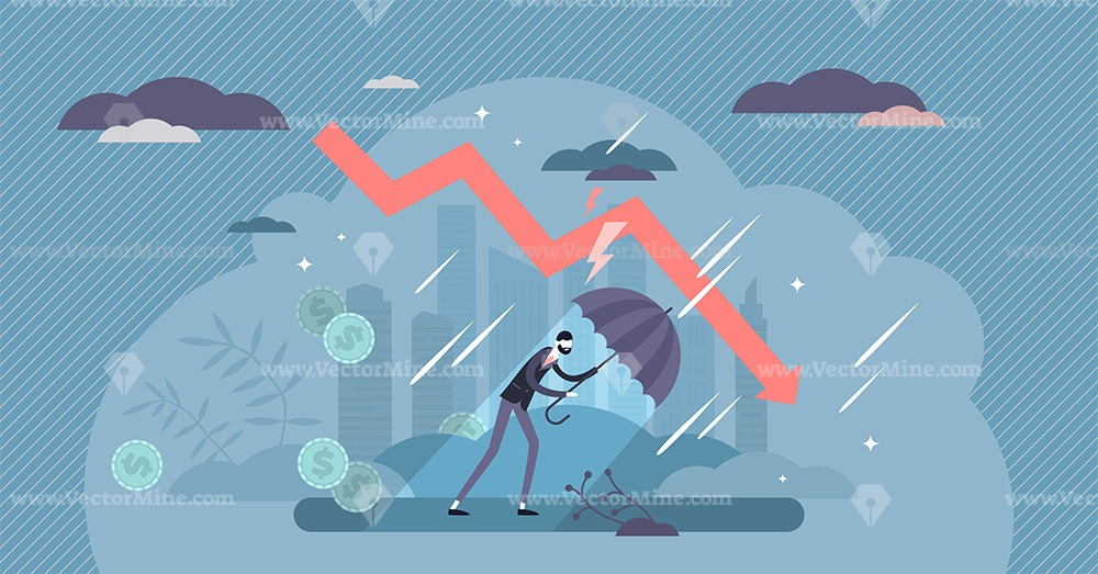 Recession financial storm concept, tiny business person vector illustration