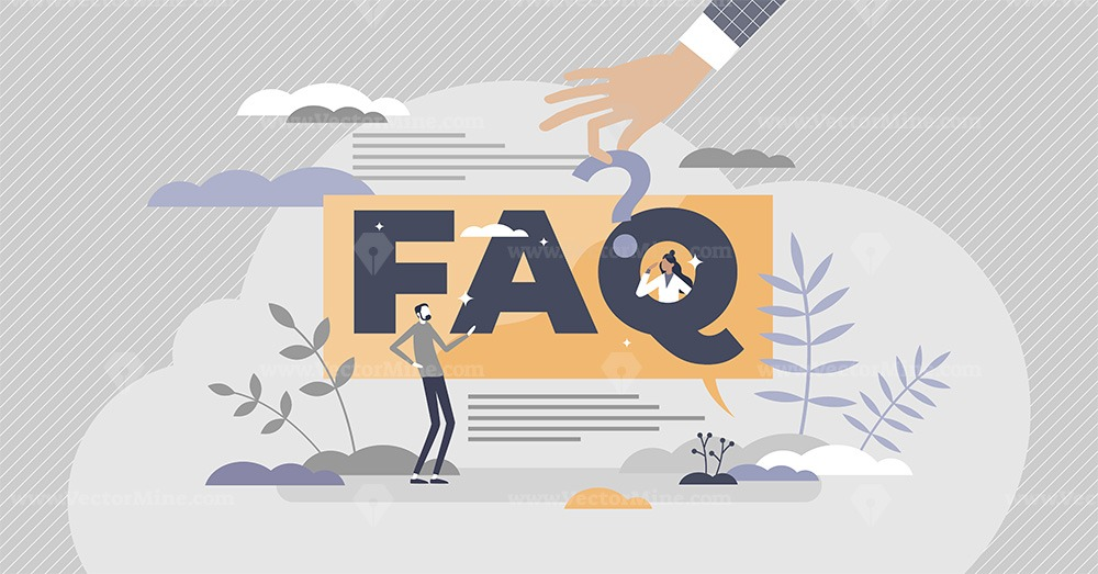 FAQ as frequently asked questions with solution answers tiny person concept