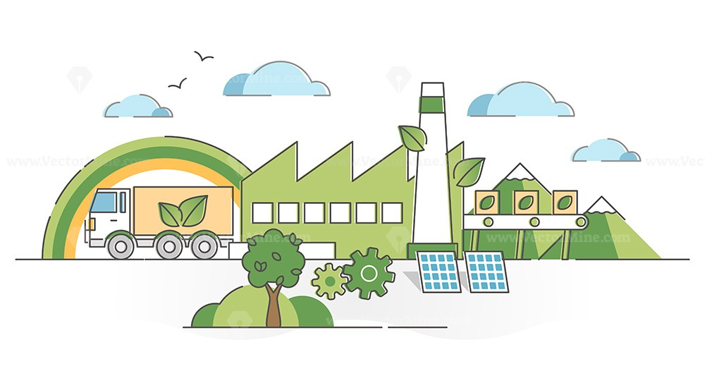 Green manufacturing factory industry with ecological power outline concept
