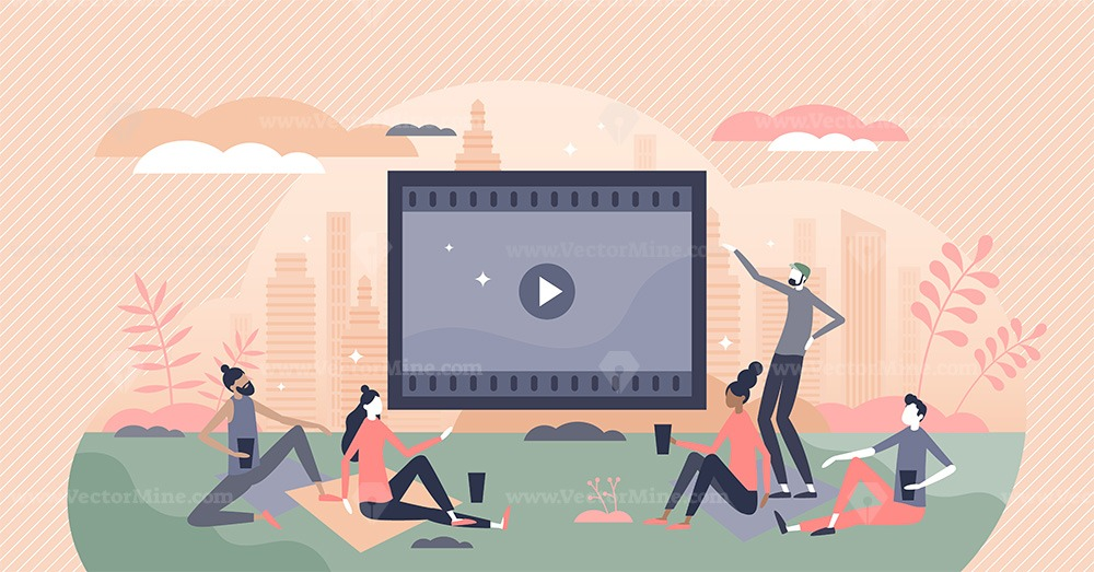 Movies watching outdoors in park or garden with friends tiny person concept