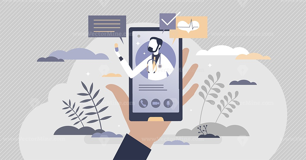 Virtual doctor videocall for distant health consultation tiny person concept