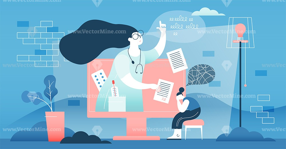 Free remote online doctor concept vector illustration