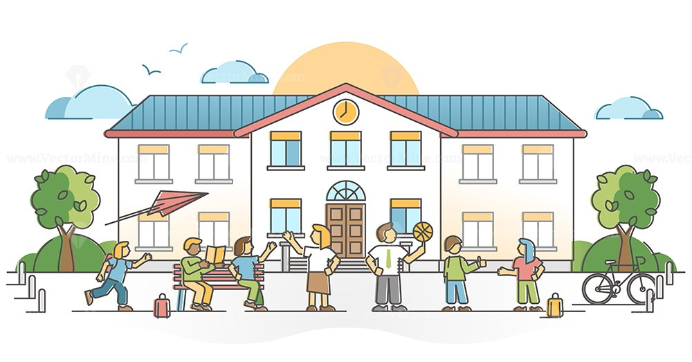 School building exterior with pupil and kids with teachers outline concept