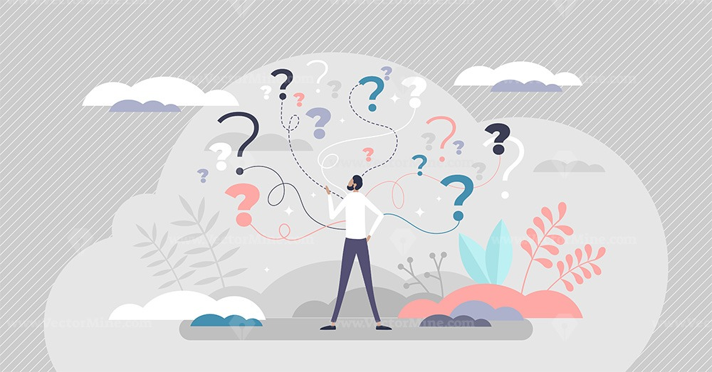 Business decision making doubt about options confusion tiny person concept