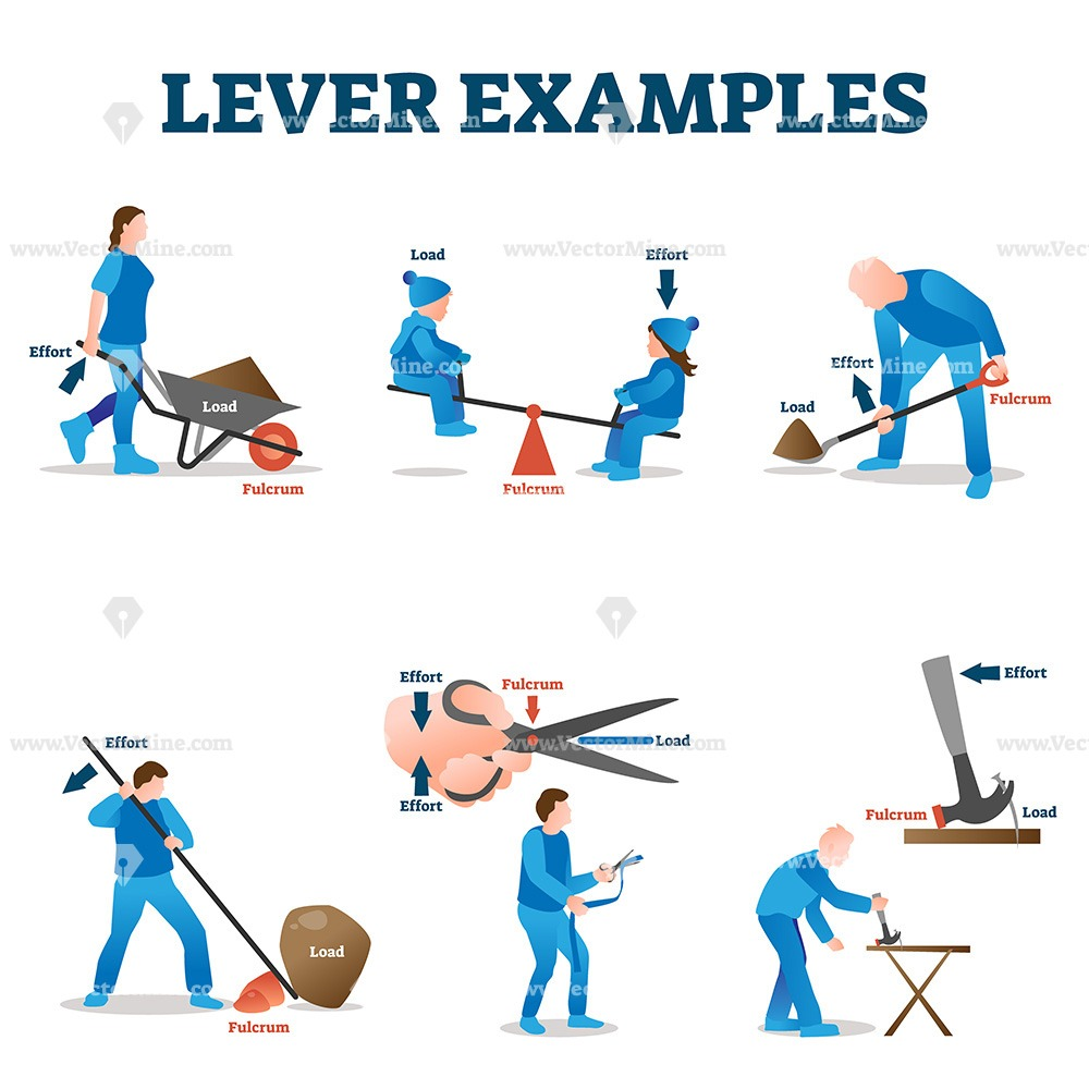 Lever examples vector illustration