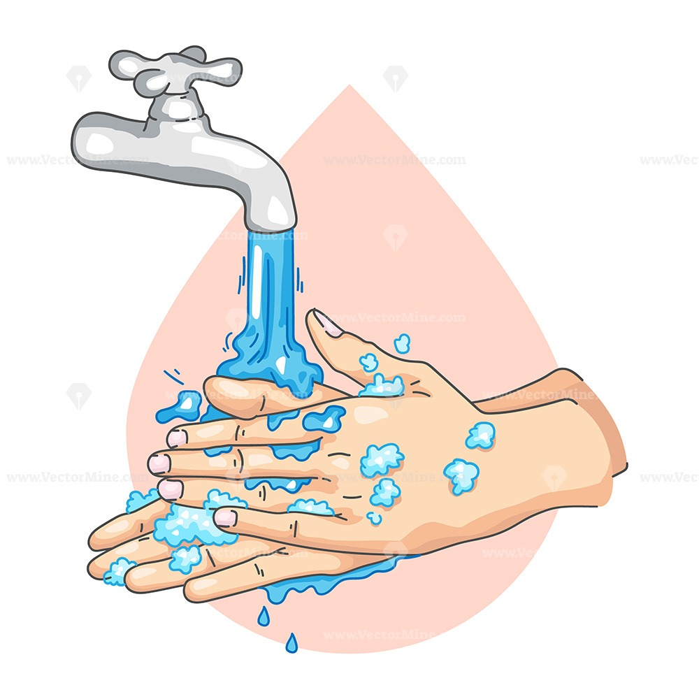 FREE washing hands sign, vector illustration drawing