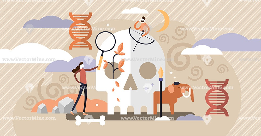 Anthropology tiny persons history concept vector illustration