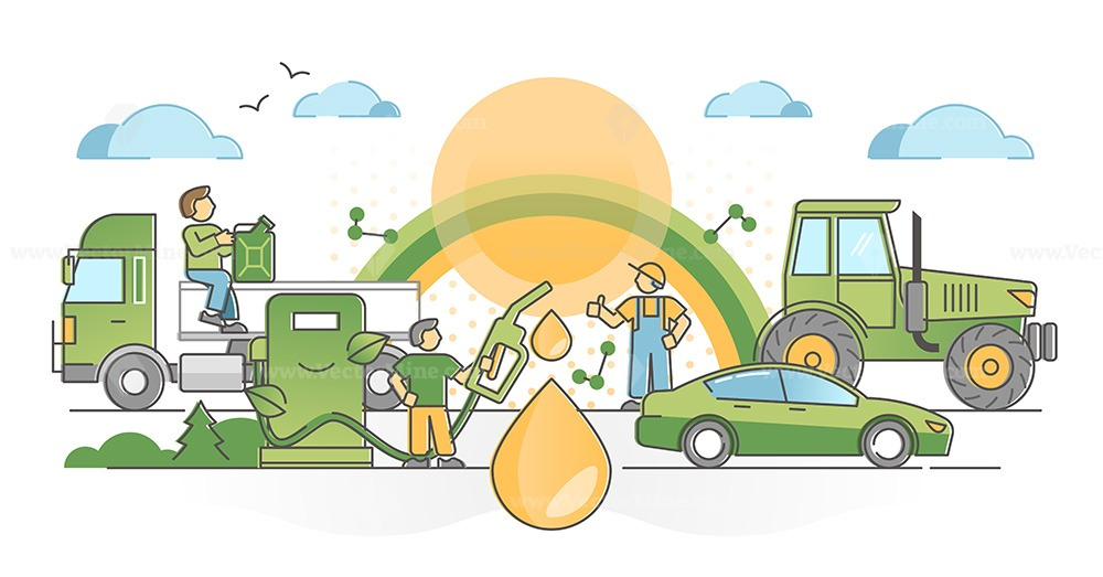 Biofuel consumption as clean and green alternative fuel oil outline concept