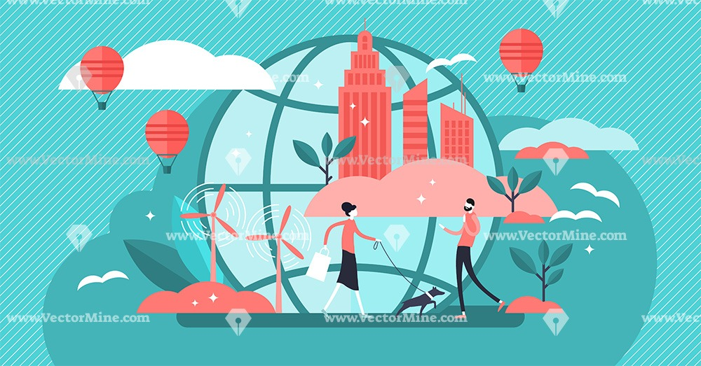 Urban ecology tiny persons concept vector illustration