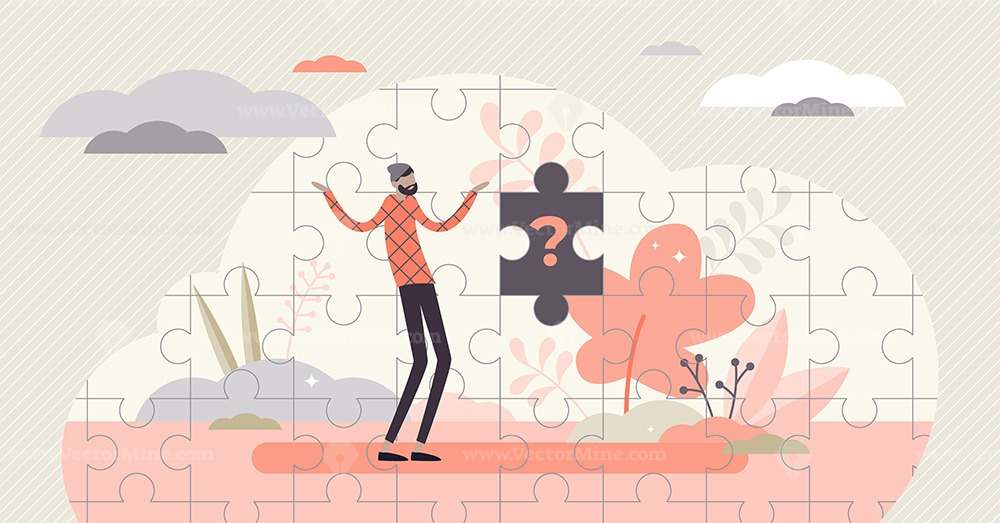 FREE Missing piece concept, flat tiny confused person vector illustration