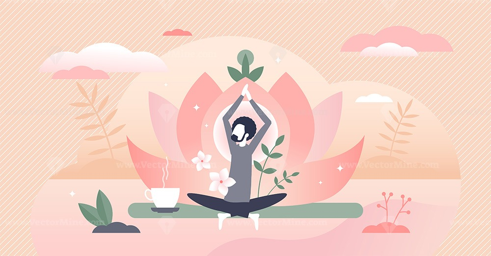 Holistic healing as man soul meditation and inner peace tiny person concept