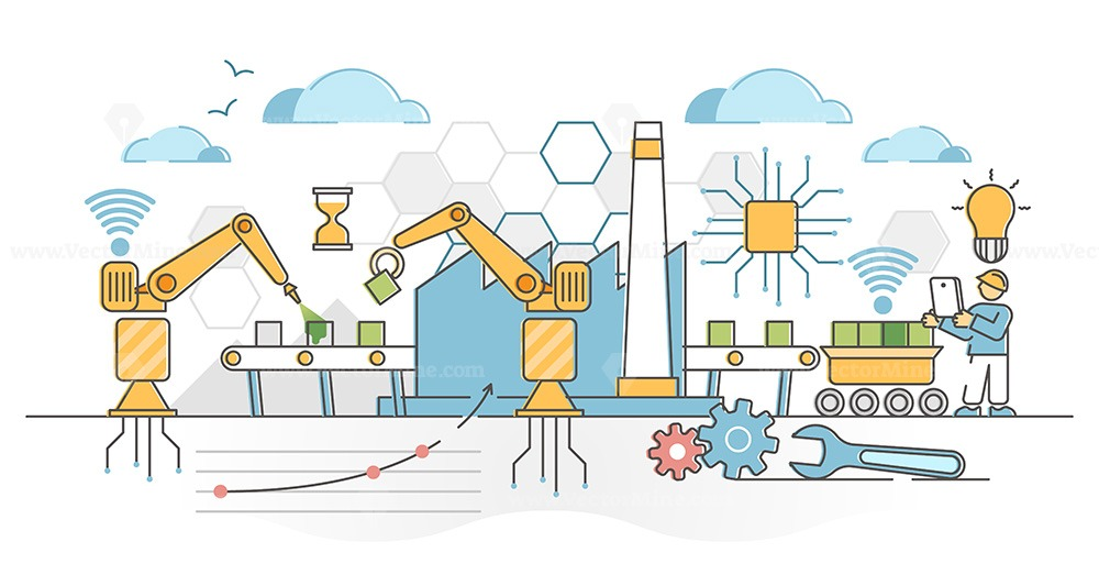 Factory automation with machine technology industrial robots outline concept
