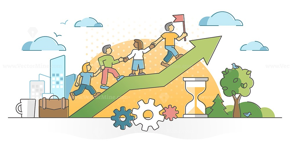 Teamwork partnership help with collaboration or assistance outline concept