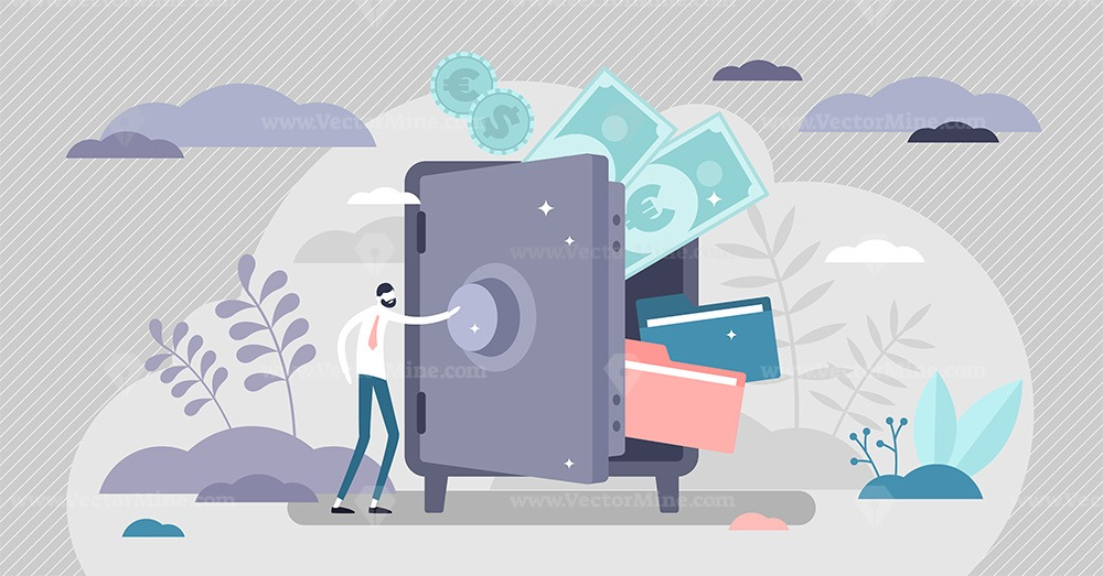 Bank safe with secured money and valuables in security tiny persons concept