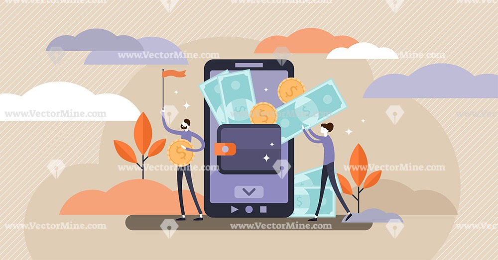Mobile wallet tiny persons concept vector illustration