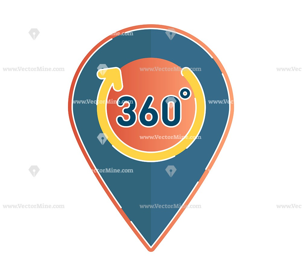 Free 360 degrees pin vector icon