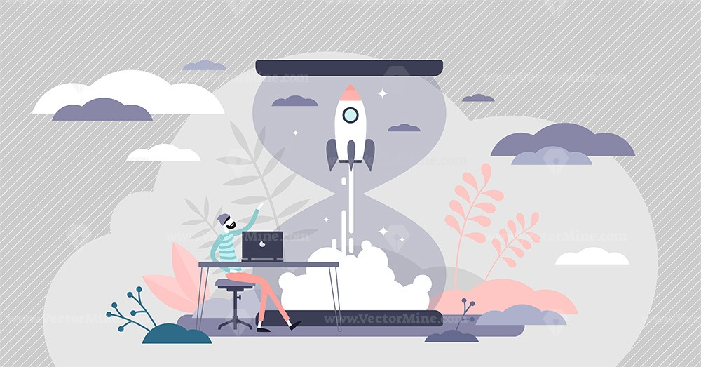 Startup innovation with new ideas in tiny person concept vector illustration