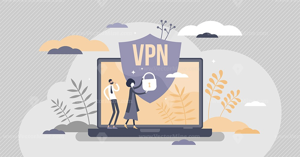 VPN virtual private network information secured in cloud tiny person concept