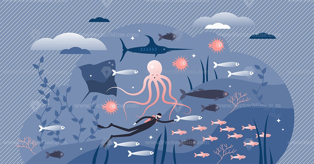 Ocean life with underwater fauna in tiny persons concept vector illustration