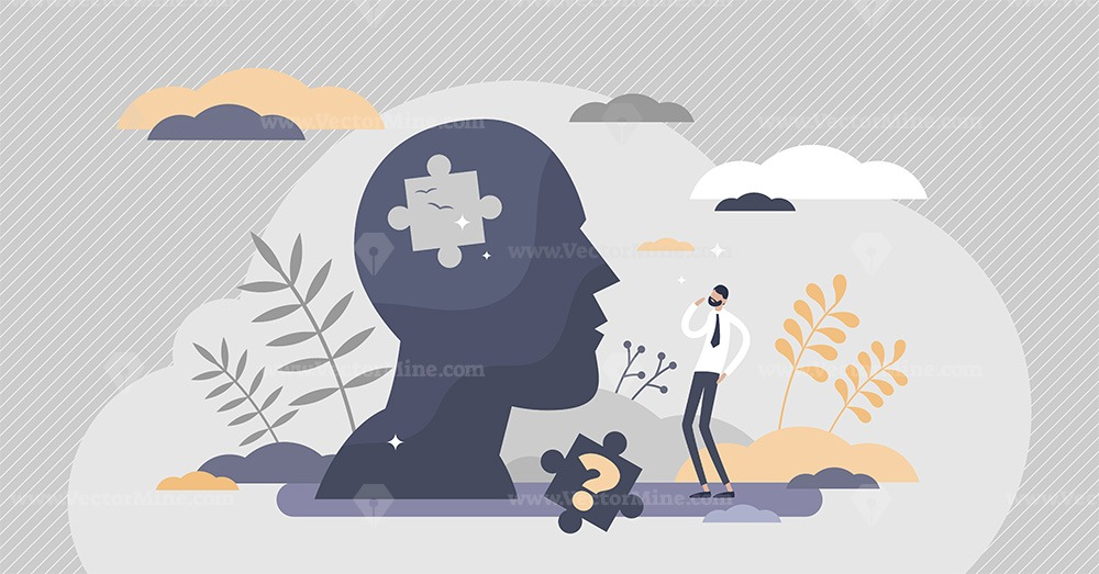 Memory loss as brain amnesia problem and thoughts forget tiny person concept