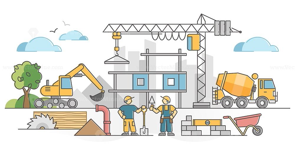 Construction work as house building site with workers scene outline concept