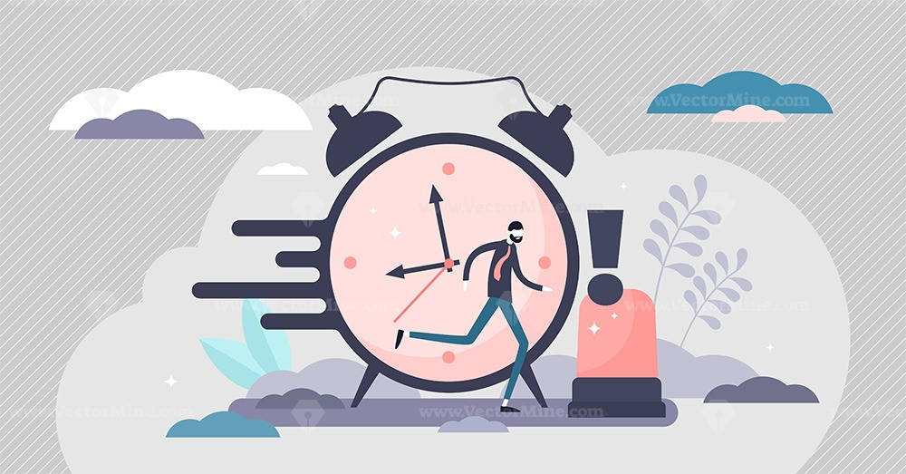 Urgency in business project deadline tiny person concept vector illustration