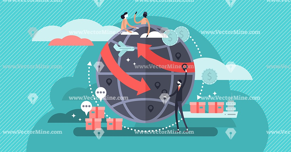 Globalisation flat tiny persons vector illustration concept