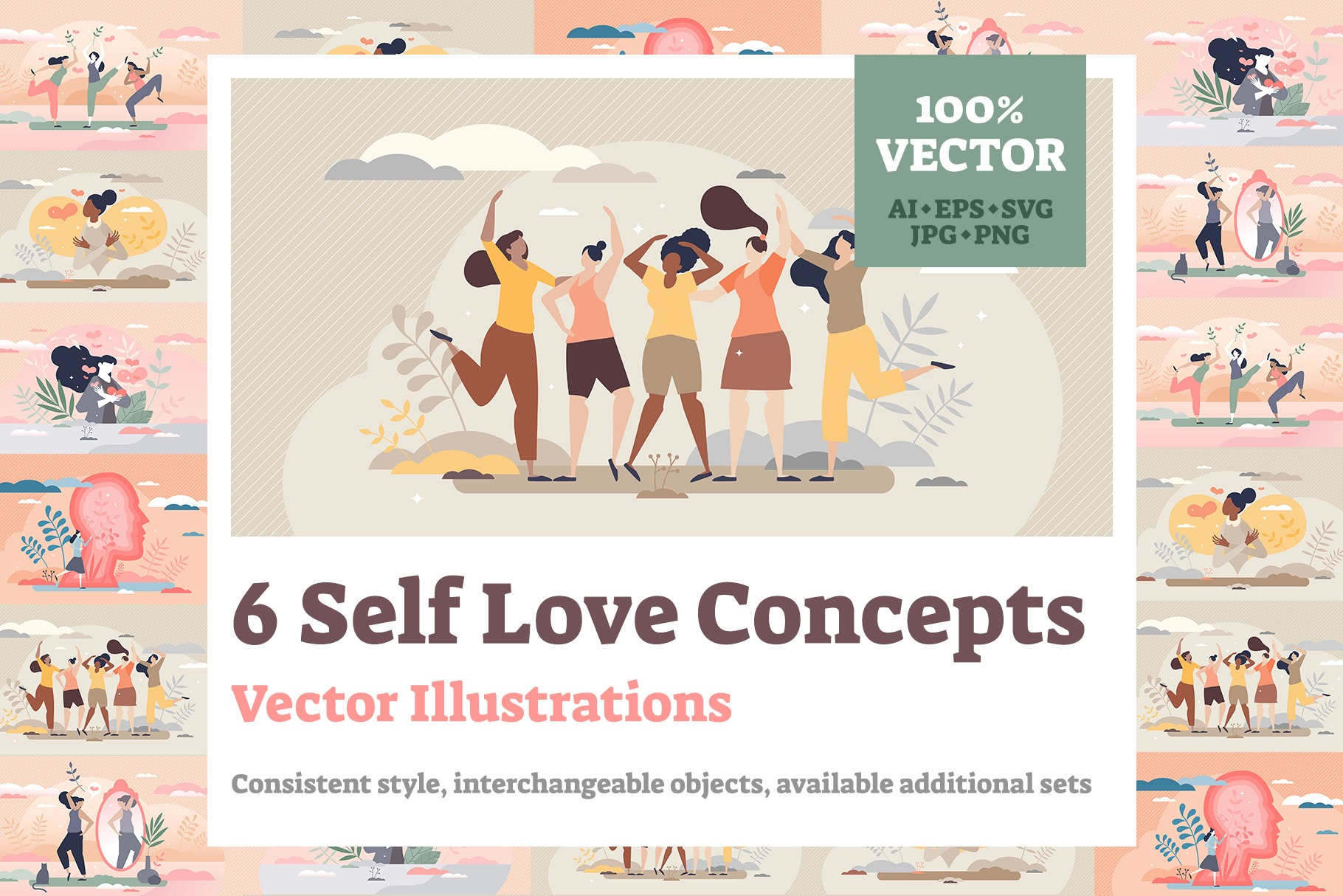 6 Self Love Illustrations Bundle