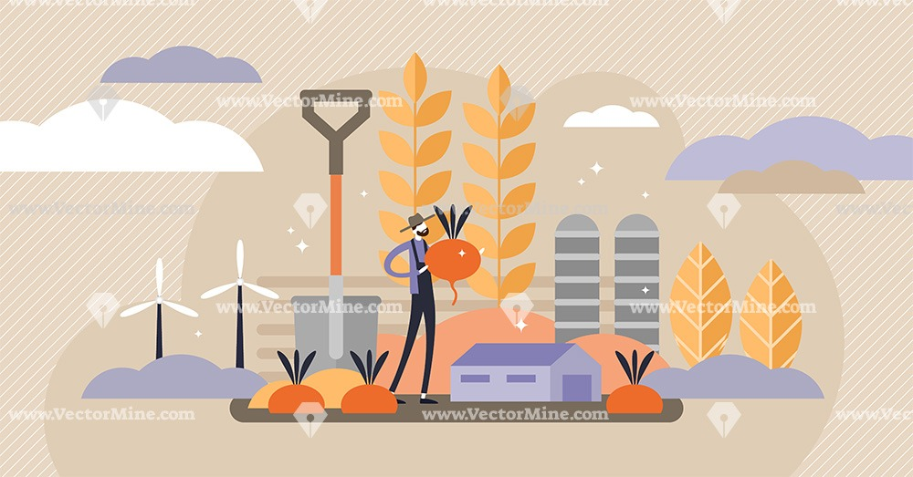 Agriculture tiny person concept vector illustration