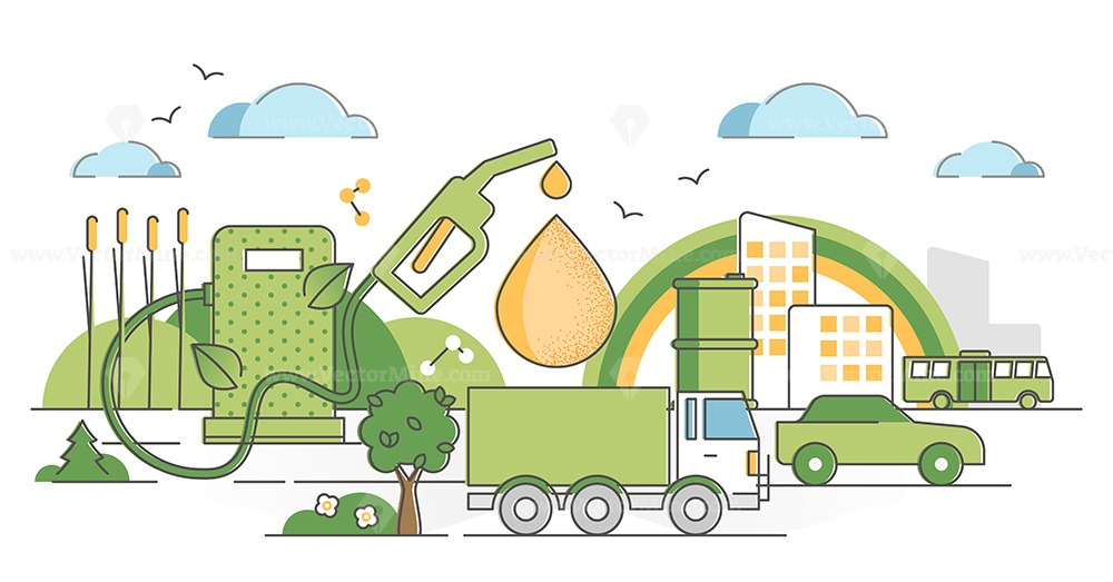 Biofuel renewable energy as green gas industry alternative outline concept