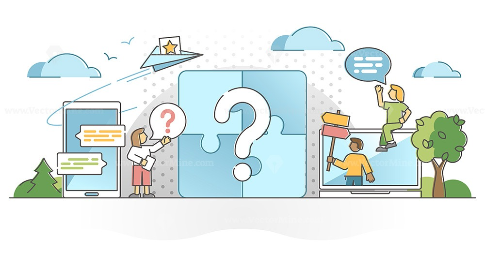 Questions answer as unknown information curiosity research outline concept