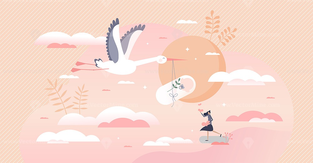 Pregnancy as newborn baby expectation and stork delivery tiny person concept