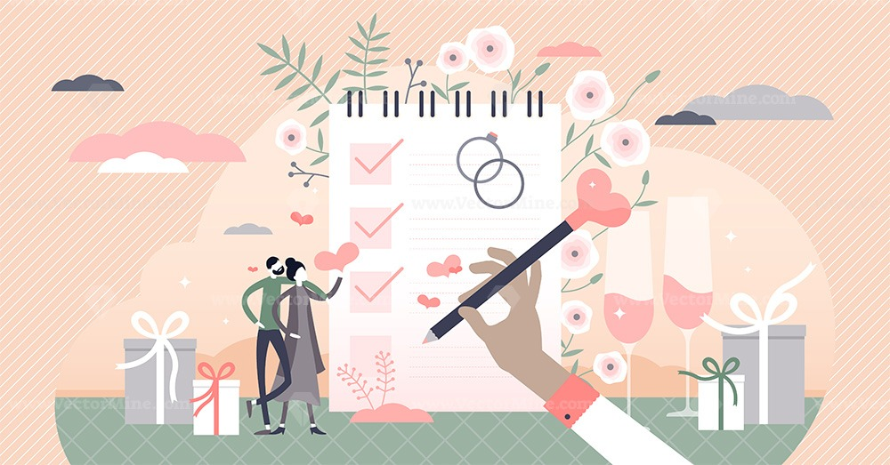 Wedding planning with checklist and reminder schedule tiny persons concept
