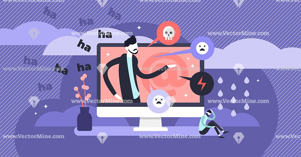 Cyber bullying flat tiny web violence persons concept