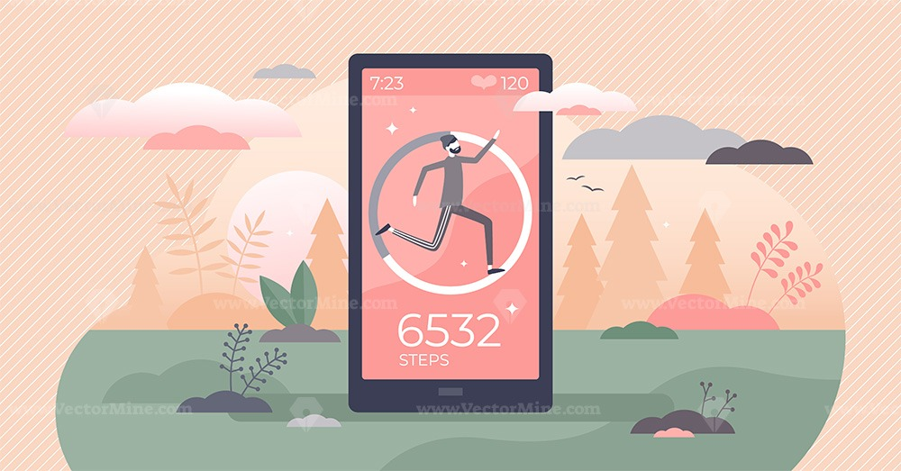 Step counter and pedometer activity app measurement tiny persons concept