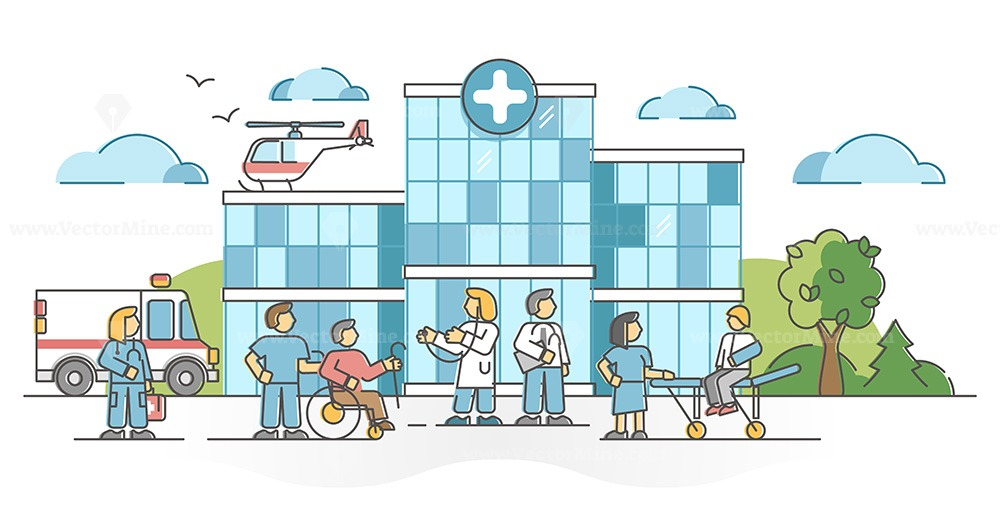 Hospital building for patient medical health emergency aid outline concept