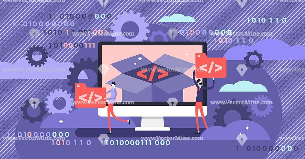 Open source software flat tiny persons concept vector illustration