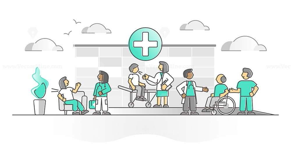 Hospital as healthcare medical ambulance or clinic monocolor outline concept