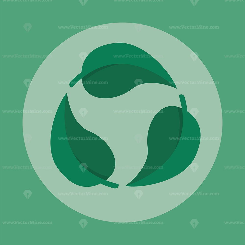 FREE green leaf recycle symbol vector illustration