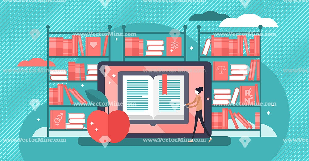 Online books flat tiny persons reading concept vector illustration