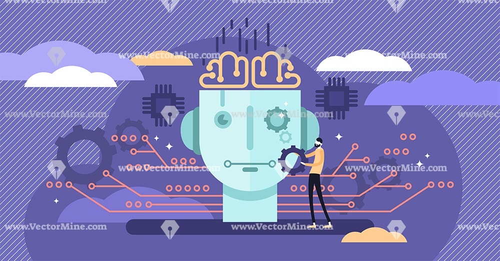 AI algorithm robotics concept, flat tiny person vector illustration