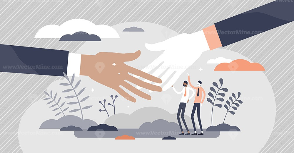 Handshake greeting as business deal communication flat tiny persons concept
