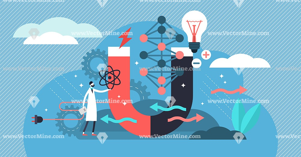 Physics science concept, flat tiny person vector illustration