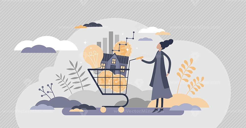 Cost of living with expenses consumption in cart flat tiny persons concept