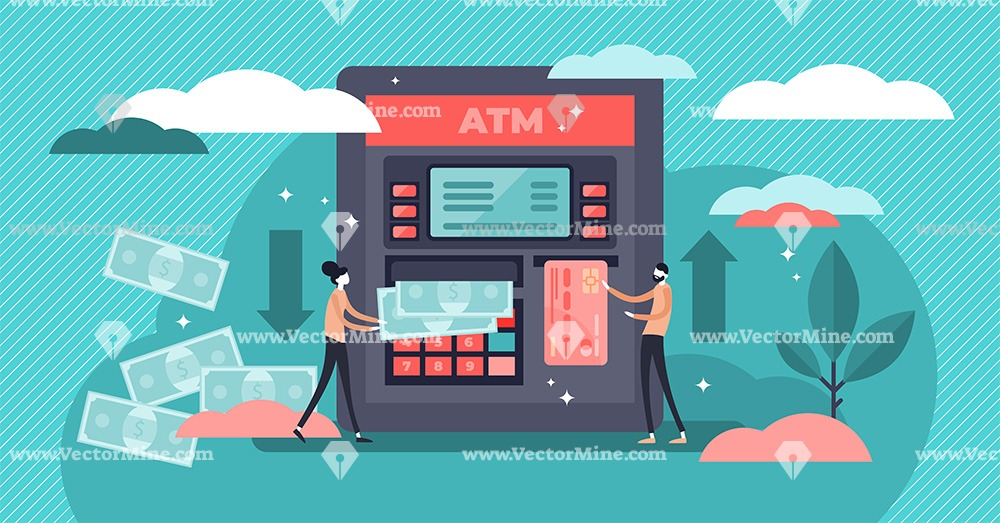 ATM cash machine flat tiny persons concept vector illustration