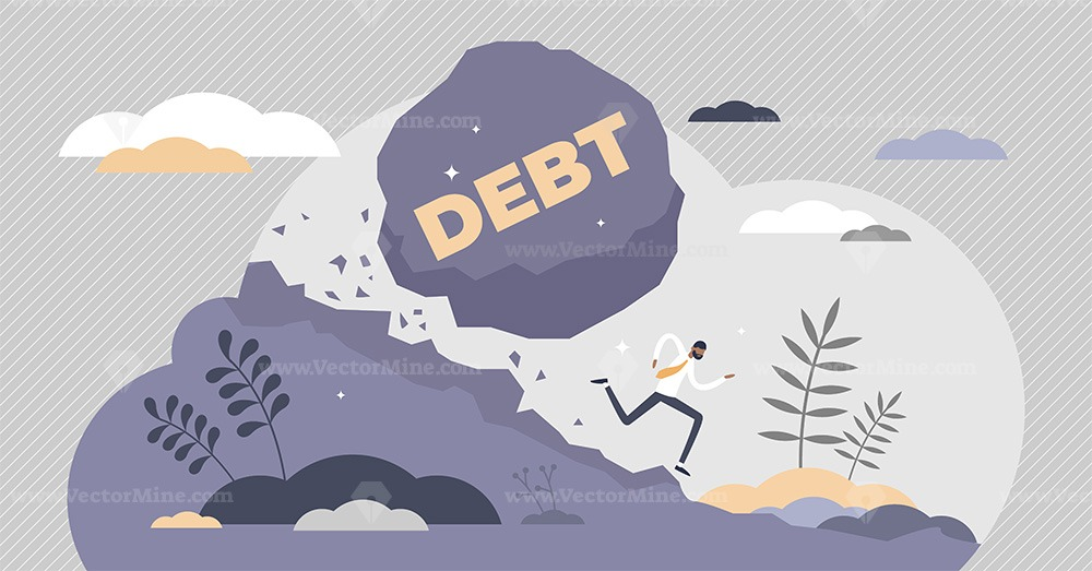 Debt bills payment problems as symbolic falling rock tiny persons concept