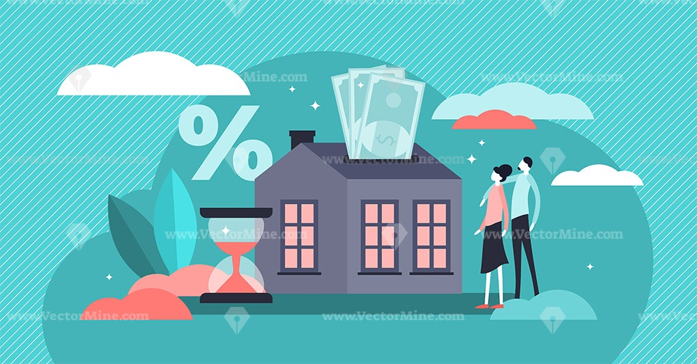 Mortgage flat tiny persons house purchase debt concept vector illustration